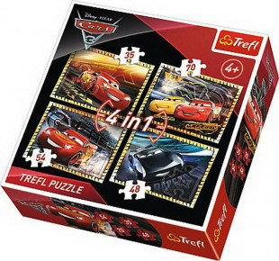 Puzzle Trefl 4 in 1 Pregatiti de cursa Cars 3