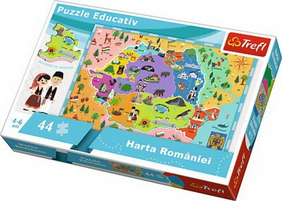 Puzzle Educational cu harta Romaniei Trefl