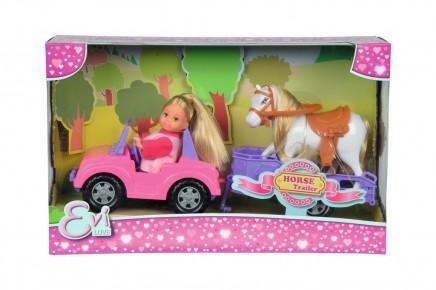 Simba Papusa Evi masinuta trailer cu cal