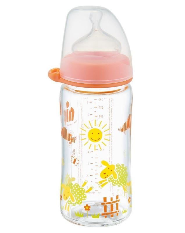 Biberon sticla cu gat larg si tetina silicon pentru lapte 240 ml
