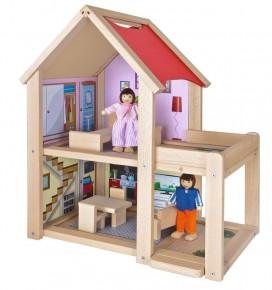 Casa si papusi din lemn