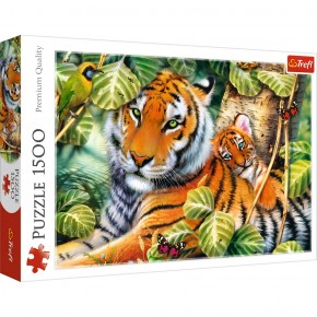 Puzzle Trefl 1500 Tigri bengalezi in padurea tropicala