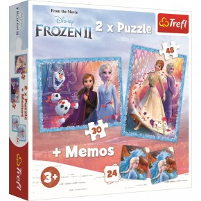 Puzzle Trefl 2 in 1 Memo Frozen 2 Tinutul misterios