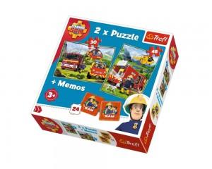Puzzle Trefl 2 in 1 Memo Pompierii in actiune