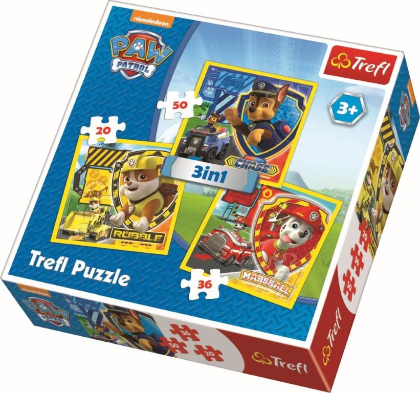 Puzzle Trefl 3in1 eroi catelusi