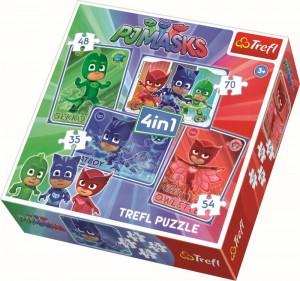 Puzzle Trefl 4in1 eroi in pijamale