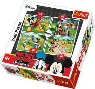 Puzzle Trefl 4in1 In parc cu Mickey