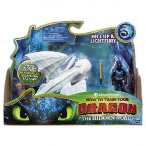 Dragons 3 figurina Hiccup si furia luminii cu lansator