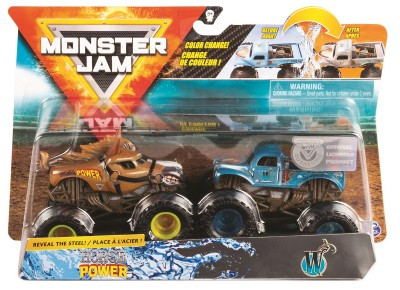 Monster Jam set 2 machete Horse Power si W color change
