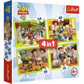Puzzle Trefl 4in1 Eroii Toystory 4 in actiune