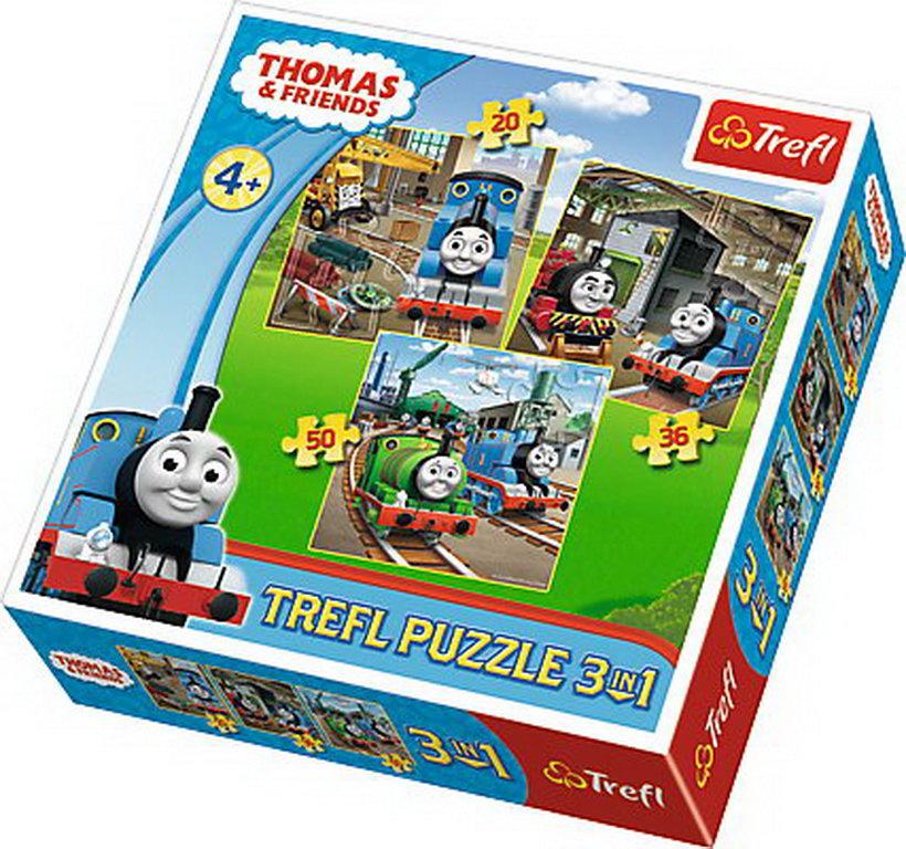 Puzzle Trefl 3in1 - Locomotiva Thomas in actiune