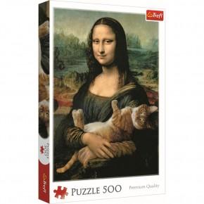 Puzzle Trefl 500 Monalisa cu pisica