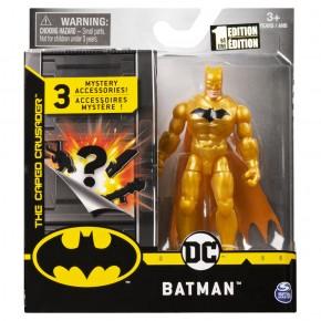 Figurina Batman auriu 10 cm cu 3 accesorii surpriza