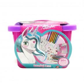 Valiza unicorn cu accesorii pentru desen