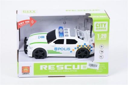 Masinuta de politie Polis cu frictiune sunete si lumini scara 1 la 20