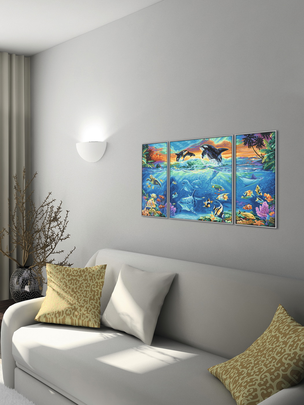 Kit pictura pe numere Schipper Viata Marina, 3 tablouri