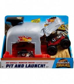Hot Wheels lansator Monster Truck Craniul cu doua masinute