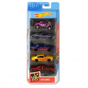 Set 5 masini Hot Wheels design cu flacari
