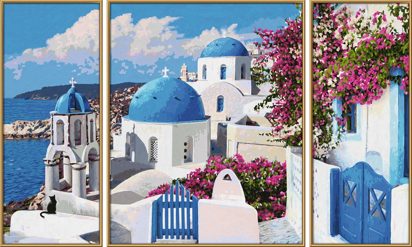 Kit pictura pe numere Schipper Santorini Grecia, 3 tablouri
