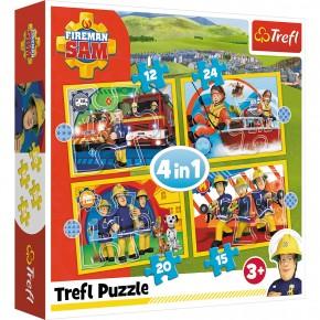 Puzzle Trefl 4in1 Ajutoarele Pompierului Sam