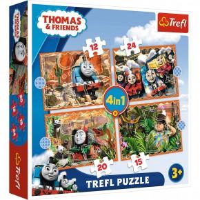 Puzzle Trefl 4in1 Thomas Calatorie in jurul lumii