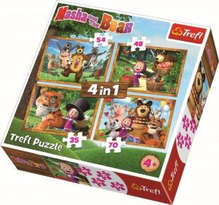 Puzzle Masha aventuri in padure trefl 4in1