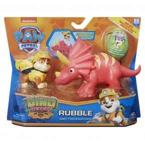 Patrula Catelusilor Set figurina Catelus Rubble si Dinozaur Triceraptor